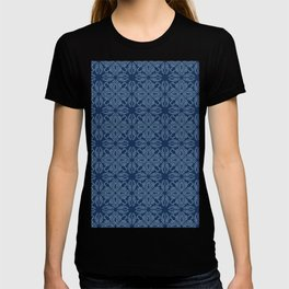Floral leaf motif sashiko style japanese needlework pattern T-shirt