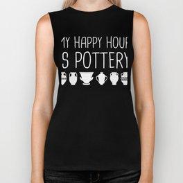My Happy Hour Is Pottery Biker Tank