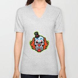 Whiteface Clown Skull Mascot Unisex V-Neck