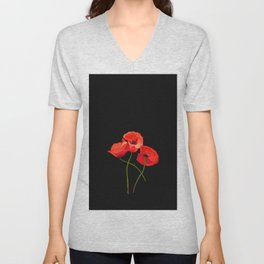3 Poppies on Black Unisex V-Neck