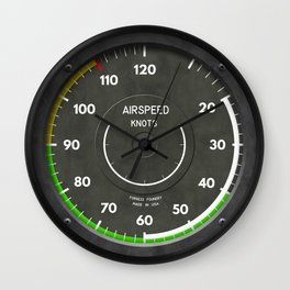 Airspeed Indicator Airplane Helicopter Clock Wall Clock