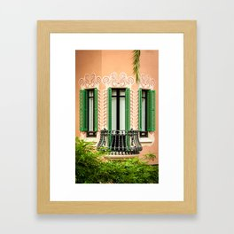 3 green windows Framed Art Print