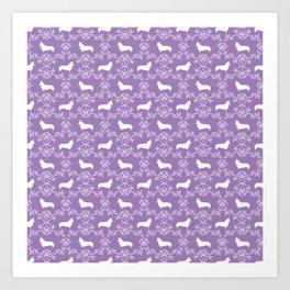 Corgi silhouette florals dog pattern purple and white minimal corgis welsh corgi pattern Art Print
