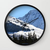 skiing Wall Clocks featuring Back-Country Skiing  - I by Alaskan Momma Bear