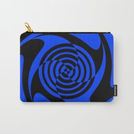 Blue and Black Geometric Swirl Carry-All Pouch