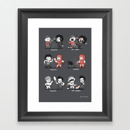 Some people shouldn't high five! Framed Art Print