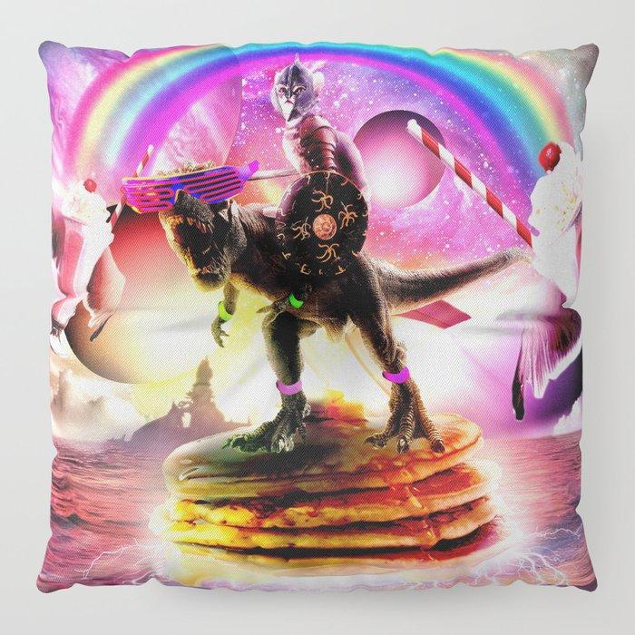 Pancake Floor Pillows: Cat Riding Dinosaur With Pancakes And Milkshake Floor