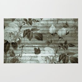 Sepia Shabby chic with painted roses Rug