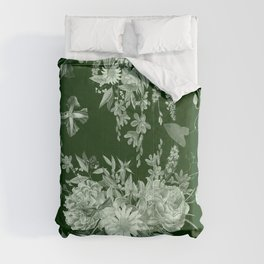 Green vintage garden Comforters