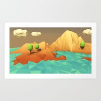 low poly Art Prints featuring Low Poly Landscape by error23