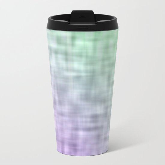 Green and purple mist abstract design Metal Travel Mug