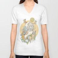 moss V-neck T-shirts featuring moss by Cassidy Rae Marietta