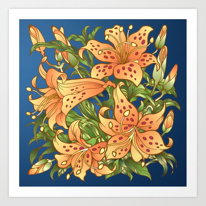 Tiger Lily Flowers Art Print By Expressionart Society6