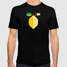 Fruit: Lemon MEDIUM Mens Fitted Tee Black