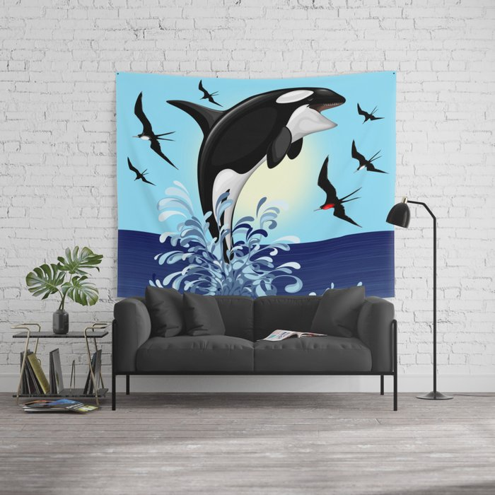 Orca Killer Whale jumping out of Ocean Wall Tapestry