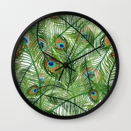 Peacock Feathers Green Wall Clock