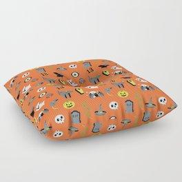 Halloween pattern in orange Floor Pillow