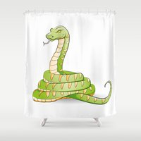 snake Shower Curtains featuring snake by Li-Bro