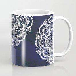 White Feather Mandala on Navy Coffee Mug