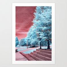 Blue Trees Red Sky Art Print