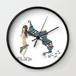 Emerging Dakini Screenprint of Native American Goddess Wall Clock