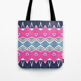 Geo Triangle Pink Navy 2 Tote Bag