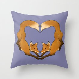 Heartful Foxes Throw Pillow