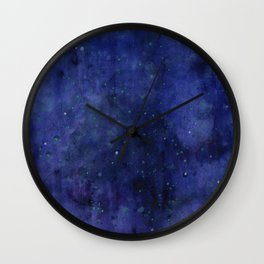 Galaxy Watercolor Nebula Texture Night Sky Stars Wall Clock