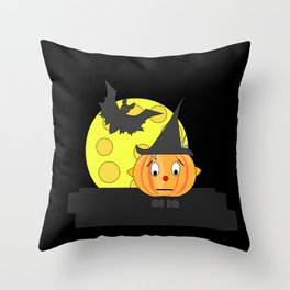 Funny emotionless pumpkin head with bat and moon Throw Pillow