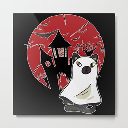 Attention The Cat Ghosts Are On The Loose Metal Print