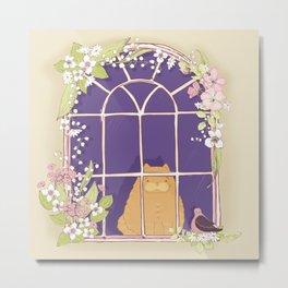Kitty Cat In A Springtime Window With A Fancy Friend Metal Print