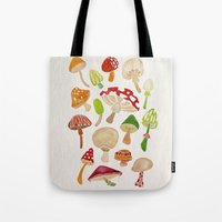 mushrooms Tote Bags featuring Mushrooms by Cat Coquillette