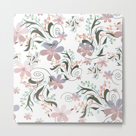 Pink blue flowers . floral pattern , flowers , illustration flowers , textiles flower , pink flowers Metal Print