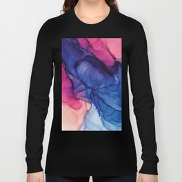Pondering- Blue and Blush- Alcohol Ink Painting Long Sleeve T-shirt