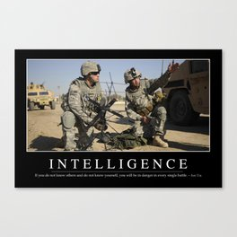 Intelligence: Inspirational Quote and Motivational Poster Canvas Print