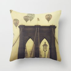 Balloons Over the Bridge Throw Pillow
