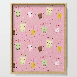 Happy Boba Bubble Tea Pink Serving Tray