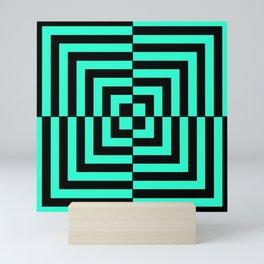 GRAPHIC GRID DIZZY SWIRL ABSTRACT DESIGN (BLACK AND GREEN AQUA) SERIES 5 OF 6 Mini Art Print
