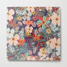 Rustic pattern with many colored flowers. Simple pretty style Metal Print