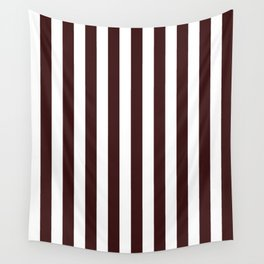 Narrow Vertical Stripes - White and Dark Sienna Brown Wall Tapestry