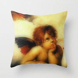 "Raffaello Sanzio da Urbino ""Sistine Madonna"", 1513-1514 - angels (3) Throw Pillow"