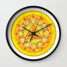 Golden Hour Mandala Wall Clock