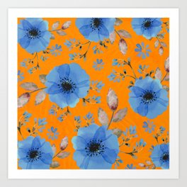 Blue flowers with orange Art Print