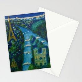 Villemot Paris at Night 'Air France' Vintage Trade Print portrait painting Stationery Cards