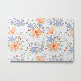 Watercolor Orange Chamomile Flower Blooms & Bluebell Blooms on White Metal Print
