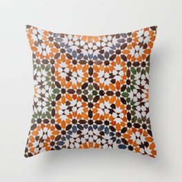 Orange flower pattern Throw Pillow