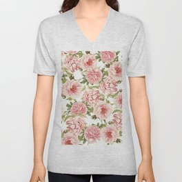 old fashioned peonies Unisex V-Neck