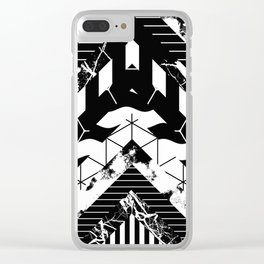 Layered (Black and white, abstract, geometric designs) Clear iPhone Case