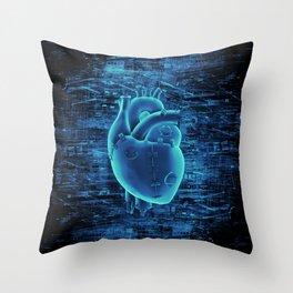 Gamer Heart BLUE TECH / 3D render of mechanical heart Throw Pillow