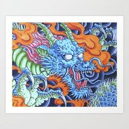 Azure Dragon Art Print